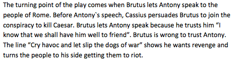 What is an example of ambition in Julius Caesar?